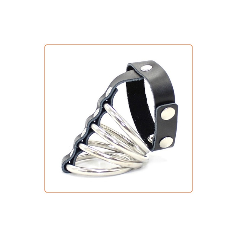 Wholesale Leather Cock Strap & 4 Metal Rings