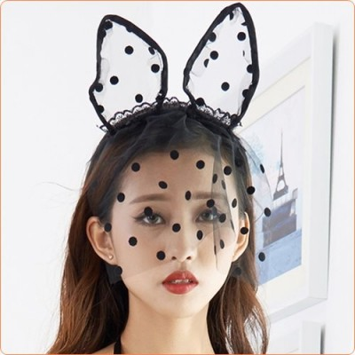 Wholesale Cute Black Cat Ears Mesh Headwear For Party