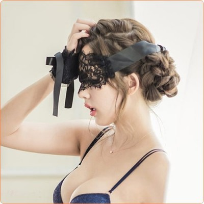 Wholesale Ladies Lace Satin Eyeshade With Hand Flowers