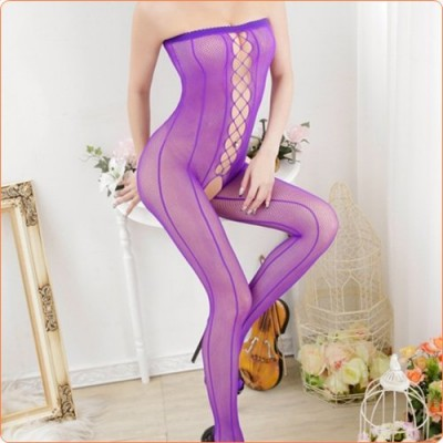Wholesale Sexy Strapless Hollow Out Crotchless Net Jumpsuit