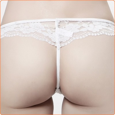 Wholesale Ladylike White Lace See-through Bowknot Decorated G-string