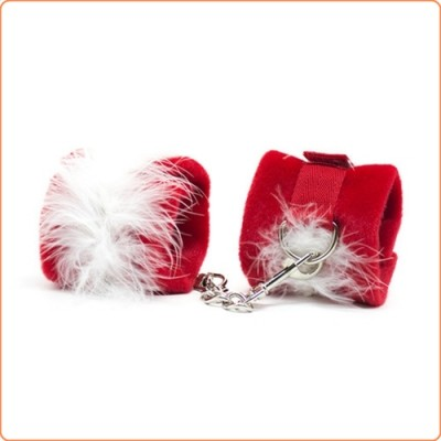Wholesale Red Fun Villus Handcuffs