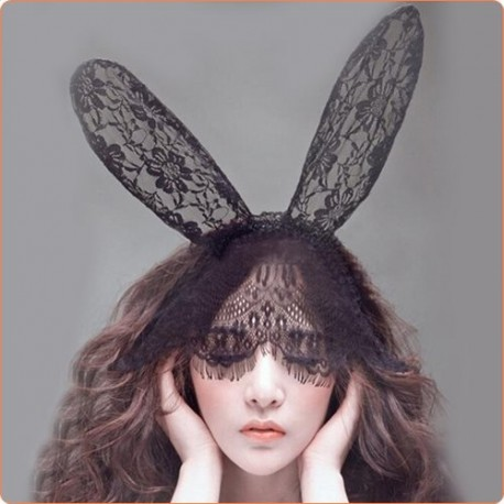 Wholesale Lovely Floral Lace Bunny Ears Headwear With Veil