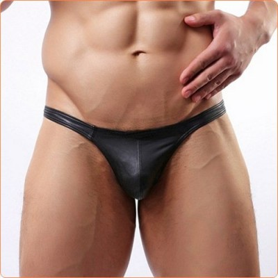 Wholesale Simple Black Faux Leather Hot Men Briefs