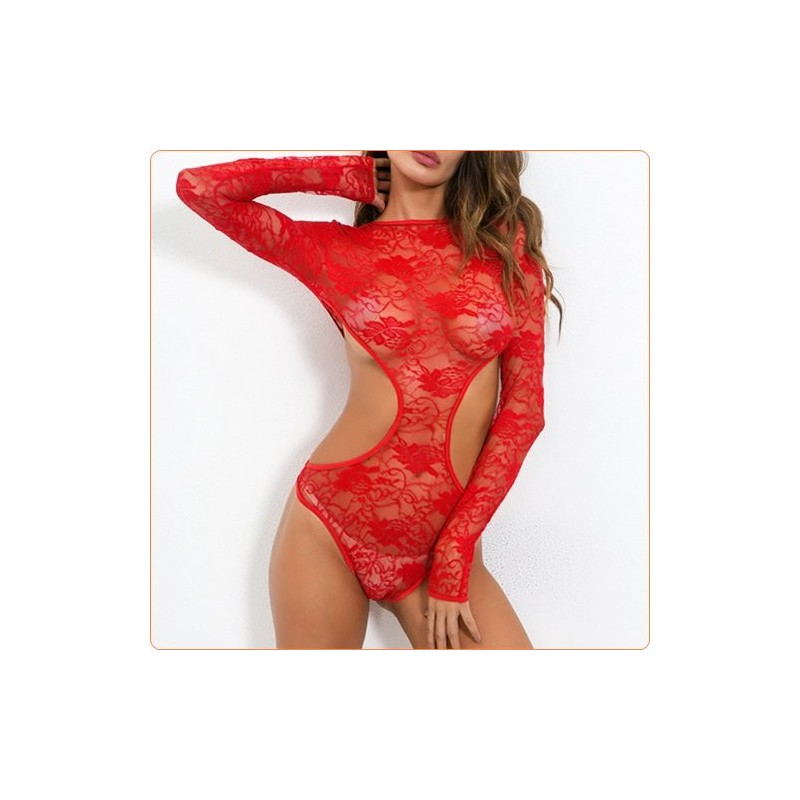 Wholesale Charming Sexy Long Sleeves Midriff Lace Jampsuit For Ladies