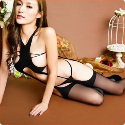 Wholesale Extremely Alluring Black Hollowed-out Body Stockings