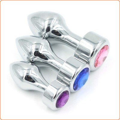 Wholesale Aluminium Butt Plug With Diamond - Bright Silver