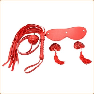 Wholesale Ball Gag / Blindfold / Flogger with Nipple Cover Kit