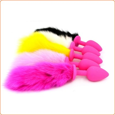 Wholesale Bunny Tail Silicone Butt Plug Pet Play Tail - Pink