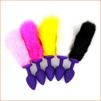 Wholesale Bunny Tail Silicone Butt Plug Pet Play Tail - Purple