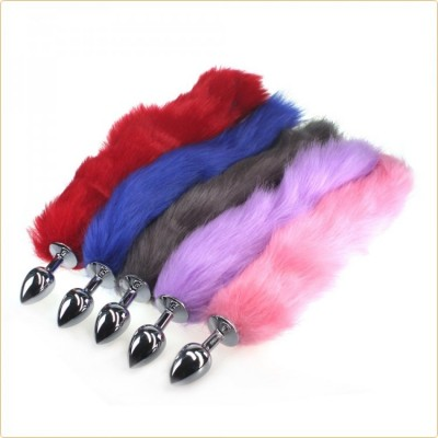 Wholesale Colorful Fox Tail Stainless steel Butt Plug