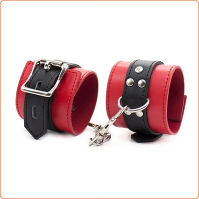 Wholesale Deluxe Red/Black Locking Cuffs