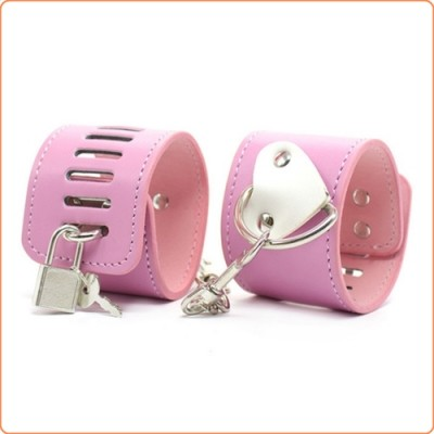Wholesale Pink Locking Cuffs With White Heart