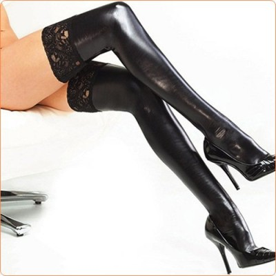 Wholesale Black Lace Trim Leather Hot Stockings For Women
