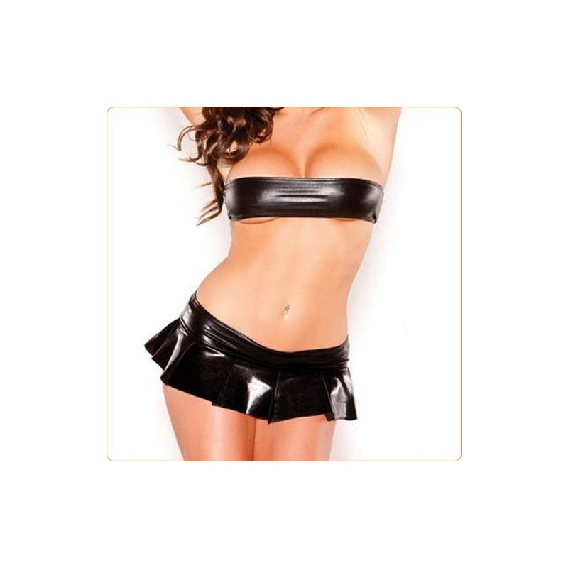 Wholesale Black Leather Tube Top And Skirt Suit Sexy Underwear