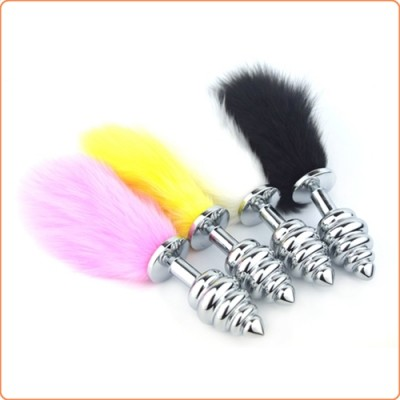 Wholesale Bunny Tail Rotate Stainless Steel Anal Plug
