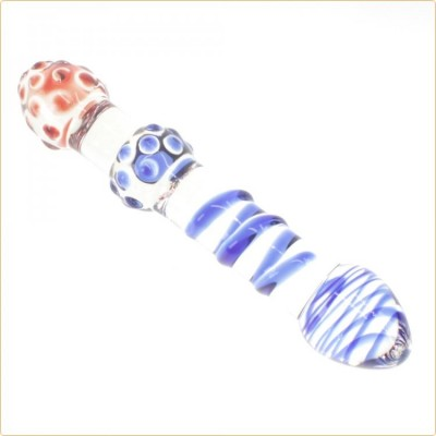 Wholesale Frost Double Head Glass Anal Plug