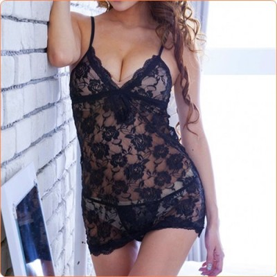 Wholesale Black Rose Alluring Low-cut Skirt With Panty