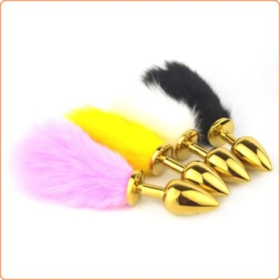 Wholesale Bunny Tail Stainless Steel Butt Plug - Golden