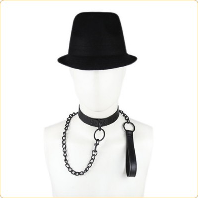 Wholesale Leather Black Chain Neck Collar