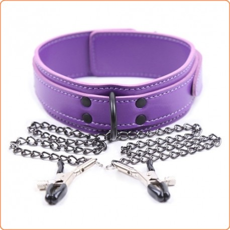 Wholesale Purple Leather Collar With Nipple Clamps