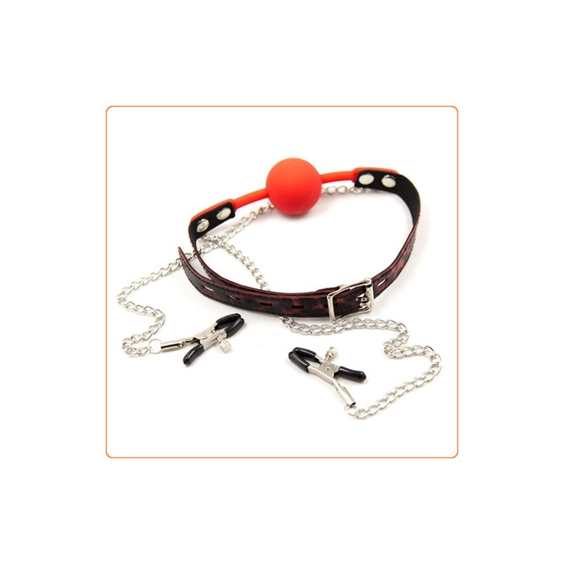 Wholesale Silicone Ball Gag With Nipple Clamps