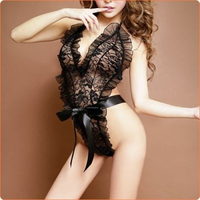 Wholesale Black Floral Lace Transparent Halter Teddy
