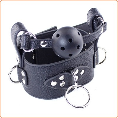 Wholesale Lichee Pattern Leather 3 D Ring Collar With Detachable Ball Gag