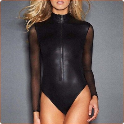 Wholesale Pure Black Mesh Splicing Patent Leather Jampsuit Nightclub Suit
