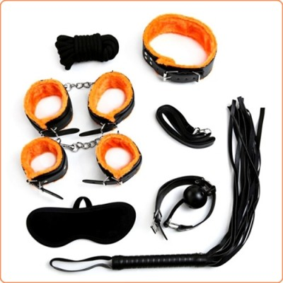Wholesale Black And Orange Plush Bondage Kit - 7 Pcs