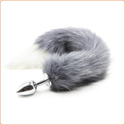 Wholesale Fox Tail Metal Anal Plug - Gray & White Tail