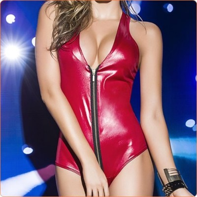 Wholesale Alluring Zip V-neck Faux Leather Dancing Dress