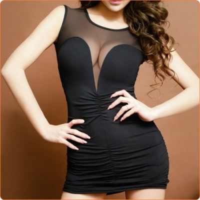 Wholesale Stylish Black Mesh Splicing Short Skirt Evening Dress