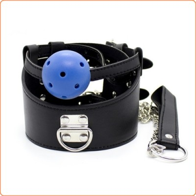 Wholesale D-Ring  Leather Collar With Ball Gag