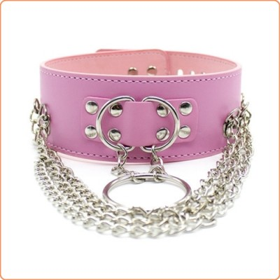 Wholesale D-O-Ring Bondage Collar With Chain