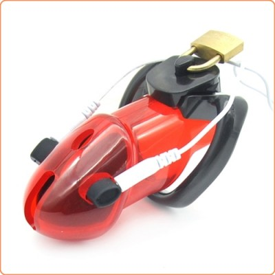 Wholesale Electrified Locking Cock Chastity - Red