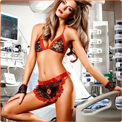 Wholesale Adult Hot Halter Nurse Lace Apron 4pcs Sexy Lingerie Costume