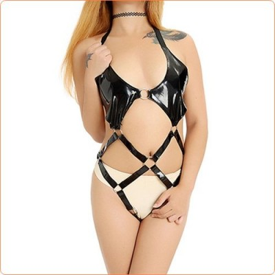 Wholesale Black Alluring Halter Hollowed-out Teddy One-piece Suit