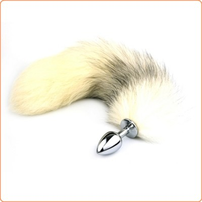 Wholesale Cross Fox Tail  Metal Anal Plug Toy