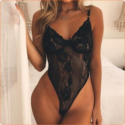 Wholesale New Style Bowknot Strappy Lace One-piece Lingerie