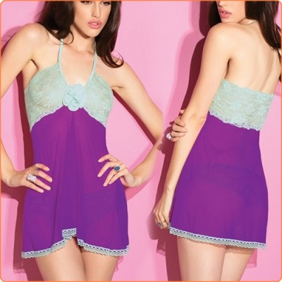 Wholesale Fashion Lace And Mesh Splicing See-through Halter Babydoll + Pan