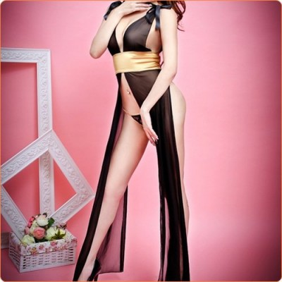 Wholesale Deep V Airy Mesh Long Robe Slitting Dress Suit