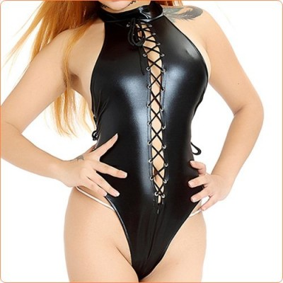 Wholesale Hot selling Leather Lace-up Crotchless Teddy Lingerie