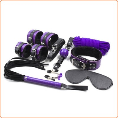 Wholesale Purple And Black Fur Lined Bondage Kit 8 Piece