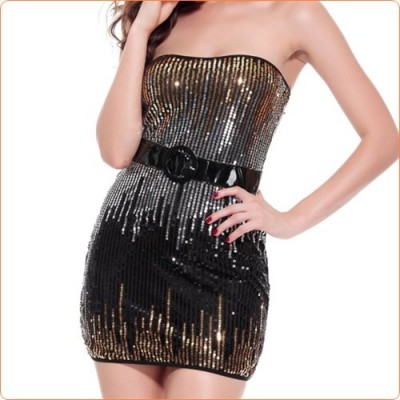 Wholesale Ladylike Low Strapless Sequined Hot Evening Dress