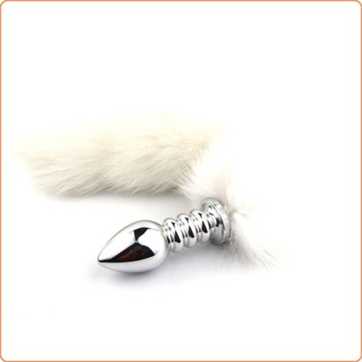 Wholesale White Arctic Fox TailScrew Stainless Steel Attractive Butt Plug
