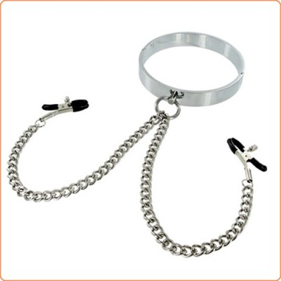 Wholesale Chrome Collar with Nipple Clamps