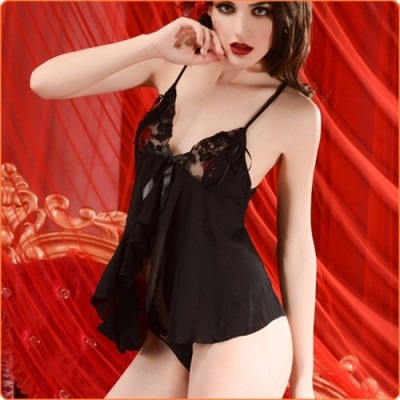 Wholesale Black Open Front Ice Silk Night Skirt Babydoll Lingerie
