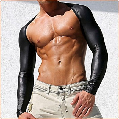 Wholesale Powerful Faux Leather Splicing One-piece Oversleeves