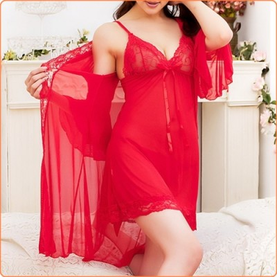 Wholesale Multi-color Airy Lace And Mesh Splicing Dress And Sexy Robe